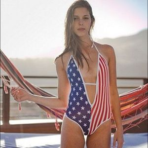 American Apparel red white and blue one piece xs/s